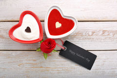 Sweet treat for Valentines Day with card for text Stock Photography