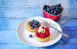 Sweet treats with blueberries and raspberries. Miniature sweet treats with blueberries and raspberries Stock Photography