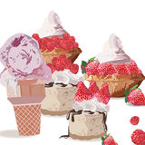 Sweet treats delicious ice cream and cakes Stock Image