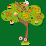 Sweet tree. The tree grow sweet pastries, cakes, rolls, pretzels, donuts and other yummy. The childs dream to grow these trees Royalty Free Stock Photography