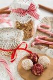 Sweet truffle brigadeiros, jam and fried oatmeal Royalty Free Stock Image