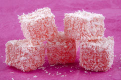 Sweet turkish delight on a pink background Stock Photos