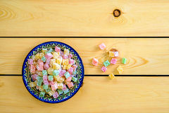 Sweet turkish delight on a plate stock image