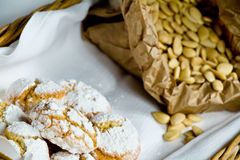 Sweet typical siena. Ricciarelli blanched almonds Royalty Free Stock Photos