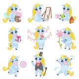 Sweet Unicorn Cartoon Set Stock Image