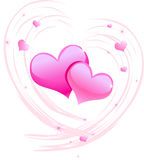 Sweet Valentine. Graphic illustration of two pink hearts Royalty Free Stock Photography