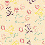 Sweet valentine day background. Seamless hand made pattern of spirals with birds and hearts. Royalty Free Stock Images