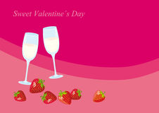 Sweet Valentine Day. Romantic background for Valentine's day. Card with glasses champagne. Champagne and strawberries for special occasion. Vector illustration Stock Photography
