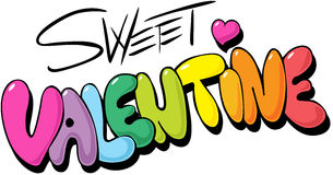 Sweet valentine design - colorful letters Stock Image