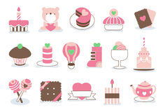 Sweet Valentine love icons. Sweet Valentine icons with a heart and lovely cake and cookies Stock Photos