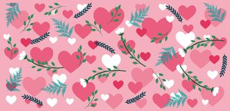 Valentine`s pattern with hearts and flowers. Sweet valentine`s pattern with hearts and flowers in blue and pink colors Royalty Free Stock Photos