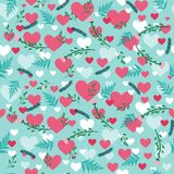 Valentine`s pattern with hearts and flowers. Sweet valentine`s pattern with hearts and flowers in blue and pink colors Stock Photos