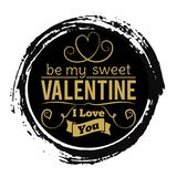 Sweet Valentines Day gold banner on black grunge backdrop - vintage love stamp design Royalty Free Stock Photo