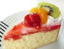 Sweet vanilla cream fruit cake Stock Photo