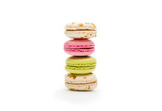 Sweet various macaroons isolated on white Royalty Free Stock Images