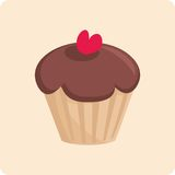 Sweet vector cake with red heart Royalty Free Stock Image