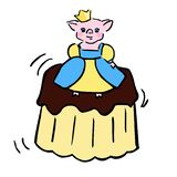 Sweet vector piggy costumed princess and jelly vector illustration