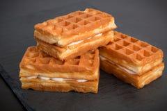 Sweet viennese waffles. On dark background Stock Photos