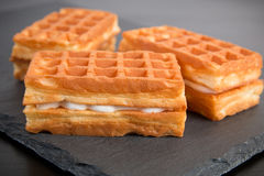 Sweet viennese waffles. On dark background Royalty Free Stock Photography