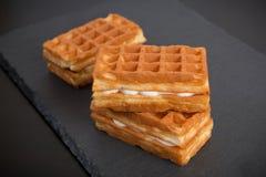 Sweet viennese waffles. On dark background Royalty Free Stock Photo