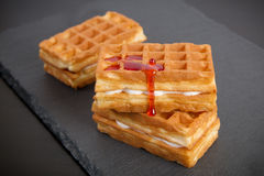 Sweet viennese waffles. On dark background Stock Images