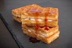 Sweet viennese waffles. On dark background Stock Image