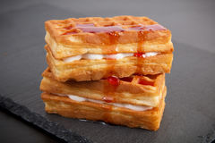 Sweet viennese waffles. On dark background Royalty Free Stock Photos