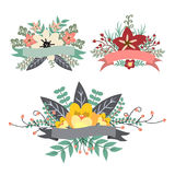 Sweet vintage floral bunch with ribbon banner Royalty Free Stock Photos