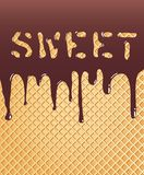 Sweet wafer. Background with chocolate on wafer Stock Photos