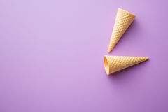 Sweet wafer cones. Royalty Free Stock Image