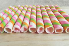 Sweet wafer rolls Stock Photography
