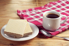 Sweet wafers and coffee Stock Photos