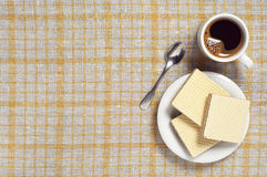Sweet wafers and coffee Stock Image