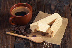 Sweet wafers and coffee Royalty Free Stock Photography