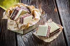 Sweet wafers with nuts and chocolate Royalty Free Stock Photos