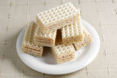 Sweet wafers on table. Sweet wafers on the table with a tablecloth stock photography