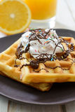 Sweet waffels with cream and chocolate Stock Image