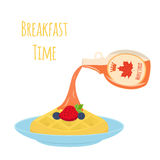 Sweet waffle with berries  and syrup for breakfast. Flat style. Royalty Free Stock Image