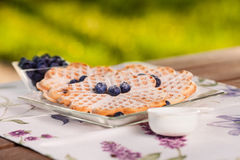 Sweet waffle with blueberries Royalty Free Stock Images