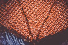 Sweet waffle cake with chocolate closeup view royalty free stock images