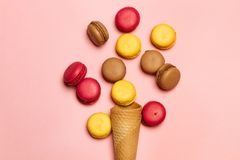 Sweet waffle cone. With macaroons stock photos