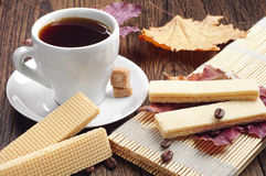 Sweet waffle and cup of coffee Stock Photo