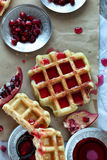 Sweet Waffle With Pomegranate Royalty Free Stock Image