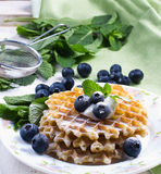 Sweet Waffles with blueberry Stock Image