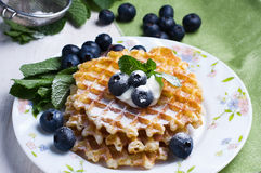 Sweet Waffles with blueberry Royalty Free Stock Photography