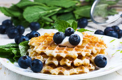 Sweet Waffles with blueberry Stock Images