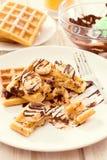 Sweet waffles and chocolate Stock Photos