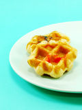 Sweet waffles with chocolate and strawberry sauce Royalty Free Stock Photo