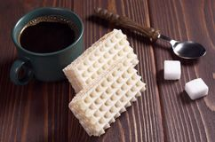 Sweet waffles and coffee Royalty Free Stock Photography