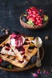Sweet waffles and ice cream Royalty Free Stock Image